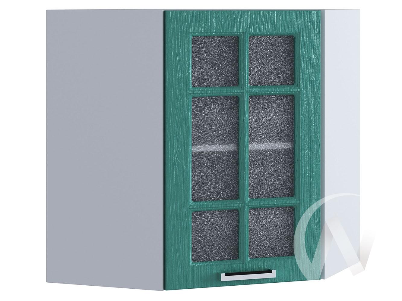 """Кухня """"Луксор"""": Шкаф верхний угловой со стеклом 590, ШВУС 590 (Клен бирюза/корпус белый)"""