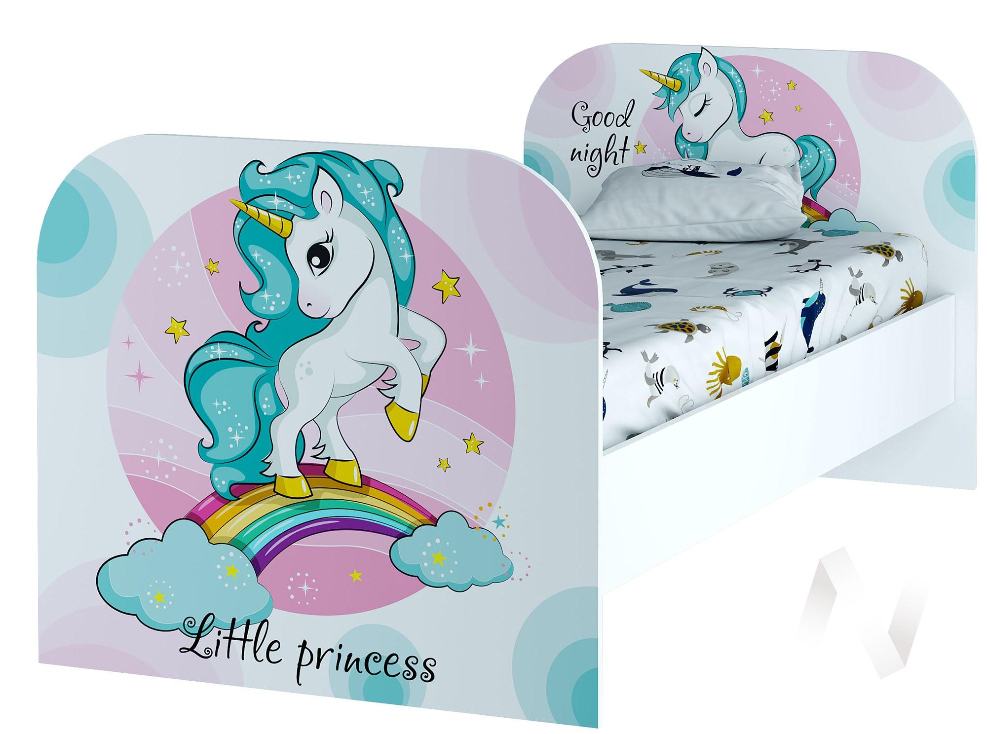 Кровать детская КР-08 Тойс (белый/белый,фотопечать Little Pony)