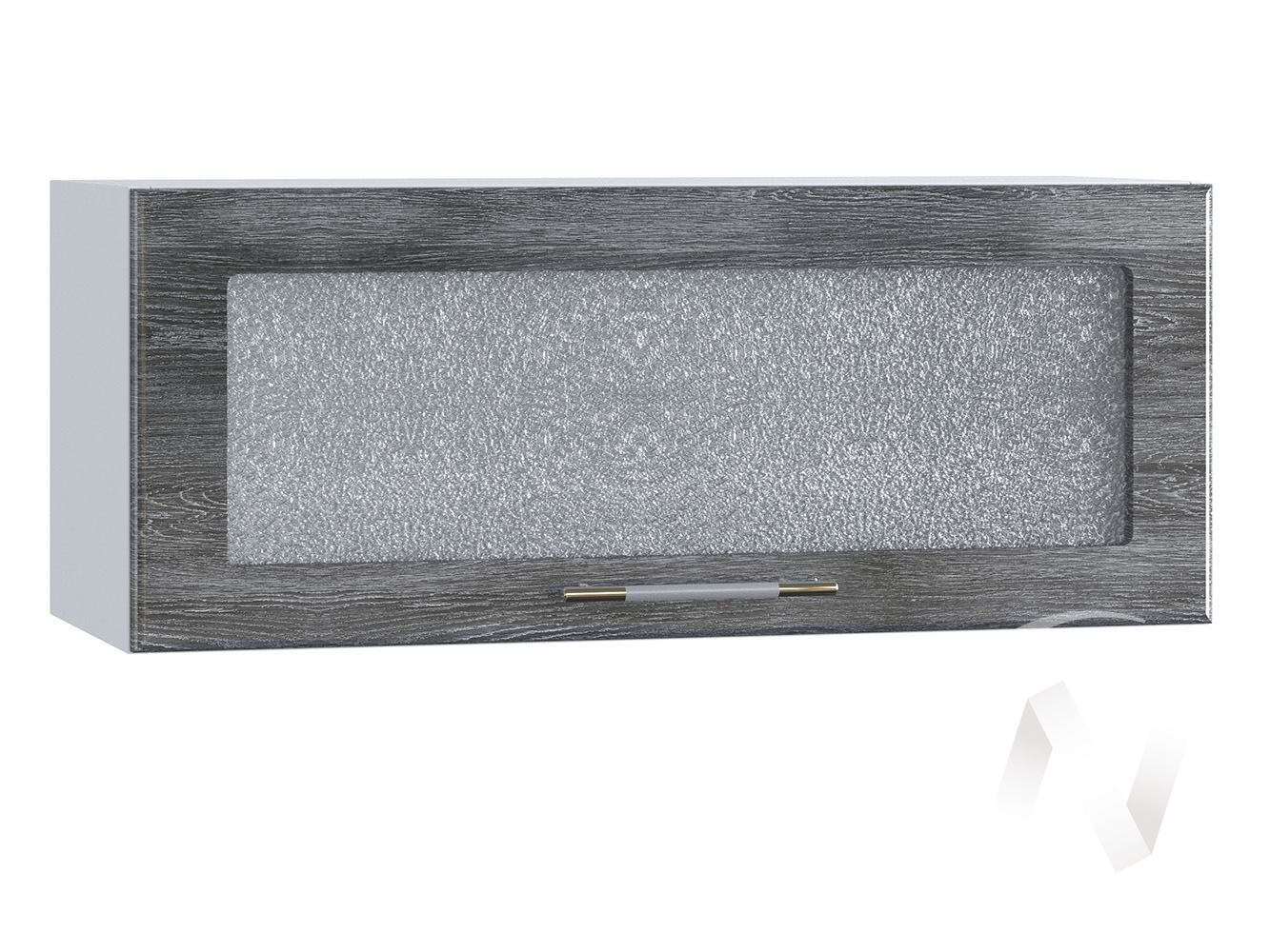 """Кухня """"Танго"""": Шкаф верхний горизонтальный со стеклом 800, ШВГС 800 (Дуб шале серебро/корпус белый)"""