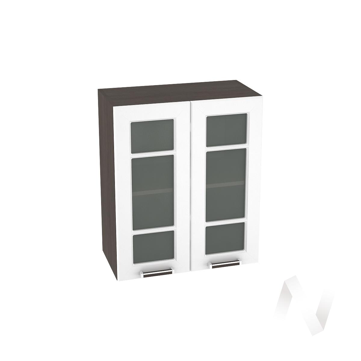 """Кухня """"Прага"""": Шкаф верхний со стеклом 600, ШВС 600 новый (белое дерево/корпус венге)"""