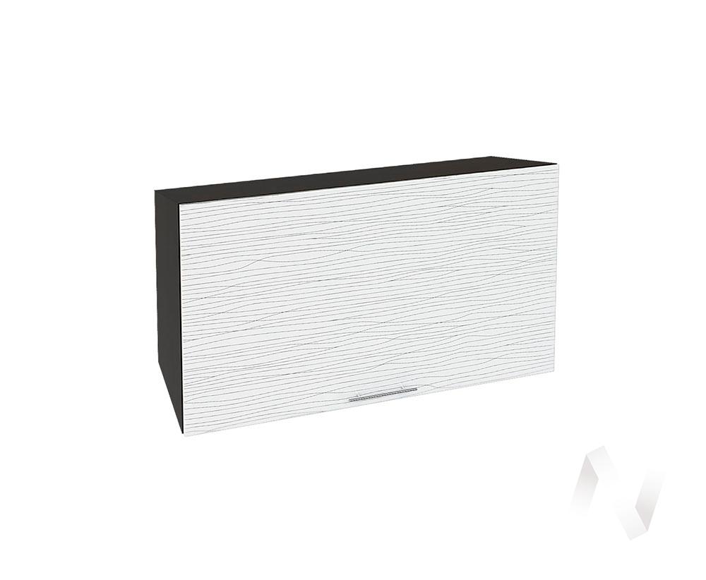 """Кухня """"Валерия-М"""": Шкаф верхний горизонтальный 809, ШВГ 809 (Страйп белый/корпус венге)"""