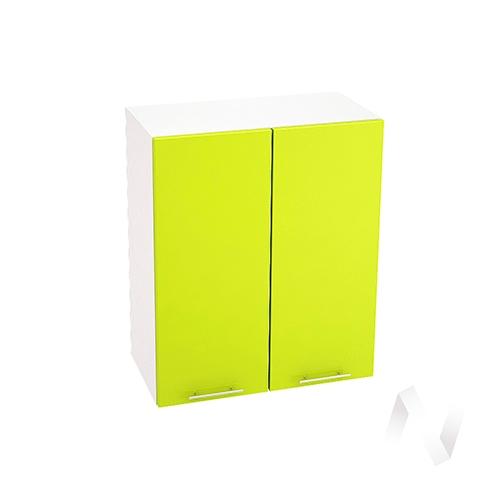 """Кухня """"Валерия-М"""": Шкаф верхний 600, ШВ 600 новый (лайм глянец/корпус белый)"""