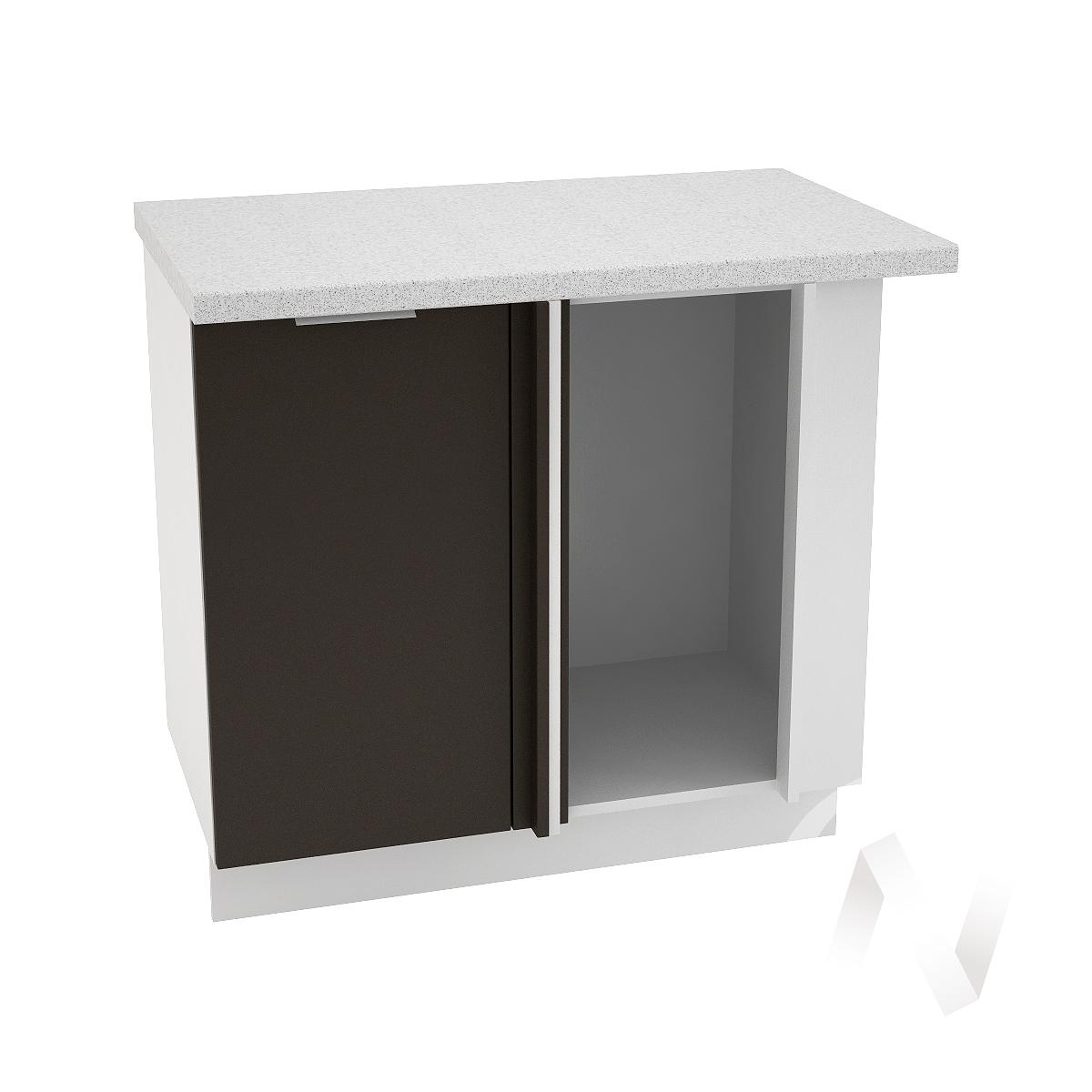 """Кухня """"Терра"""": Шкаф нижний угловой 990М, ШНУ 990М (смоки софт/корпус белый)"""