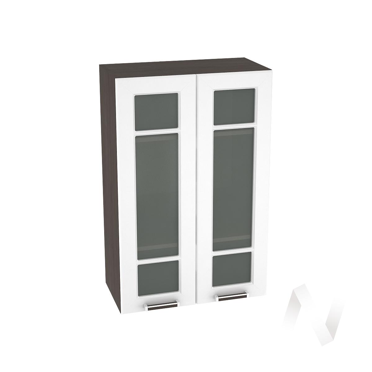 """Кухня """"Прага"""": Шкаф верхний со стеклом 609, ШВС 609 новый (белое дерево/корпус венге)"""