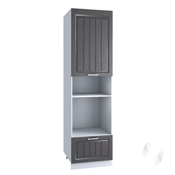 "Кухня ""Луксор"": Шкаф пенал 606МН, ШП 606МН (Клен серый/корпус белый)"