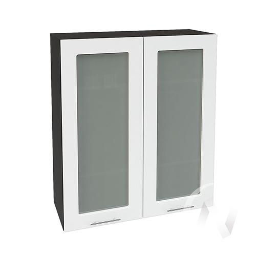 """Кухня """"Валерия-М"""": Шкаф верхний со стеклом 809, ШВС 809 новый (белый глянец/корпус венге)"""