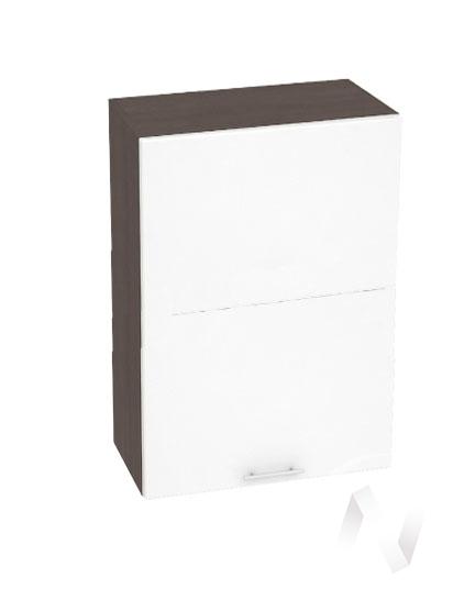 """Кухня """"Валерия-М"""": Шкаф верхний горизонтальный 602, ШВГ 602 (белый глянец/корпус венге)"""