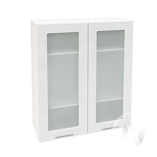 """Кухня """"Валерия-М"""": Шкаф верхний со стеклом 809, ШВС 809 новый (дождь серый/корпус белый)"""