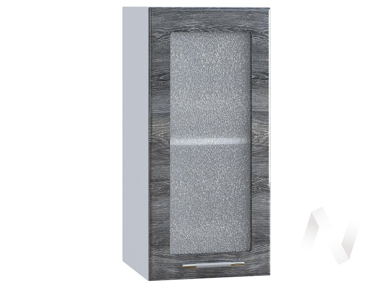 "Кухня ""Танго"": Шкаф верхний со стеклом 300, ШВС 300 (Дуб шале серебро/корпус белый)"