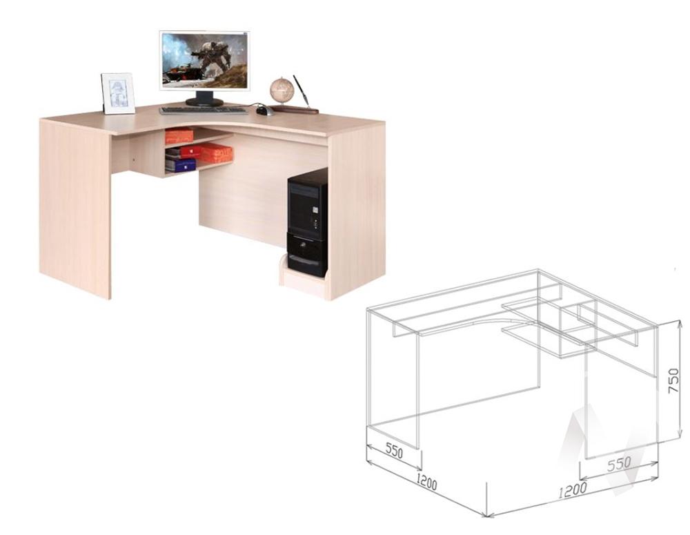 Евро М3 Стол компьютерный угловой (бодега бежевый-ясень шимо темный)