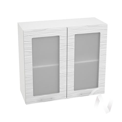 """Кухня """"Валерия-М"""": Шкаф верхний со стеклом 800, ШВС 800 новый (Страйп белый/корпус белый)"""