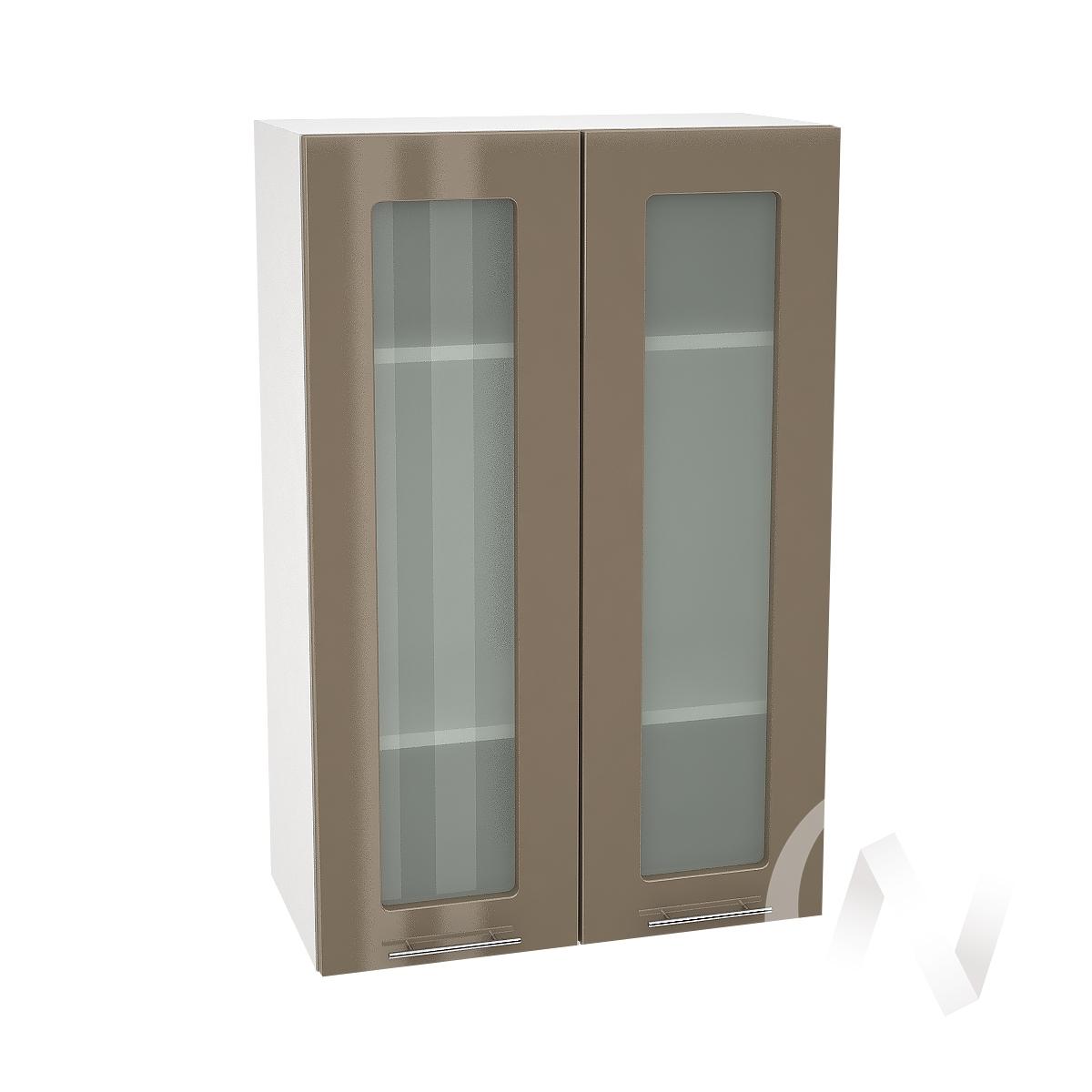 """Кухня """"Валерия-М"""": Шкаф верхний со стеклом 609, ШВС 609 (Капучино глянец/корпус белый)"""