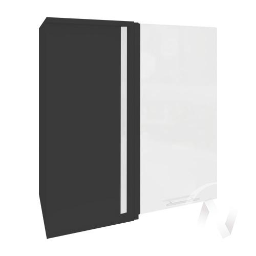 """Кухня """"Валерия-М"""": Шкаф верхний угловой 690, ШВУ 690 (белый металлик/корпус венге)"""