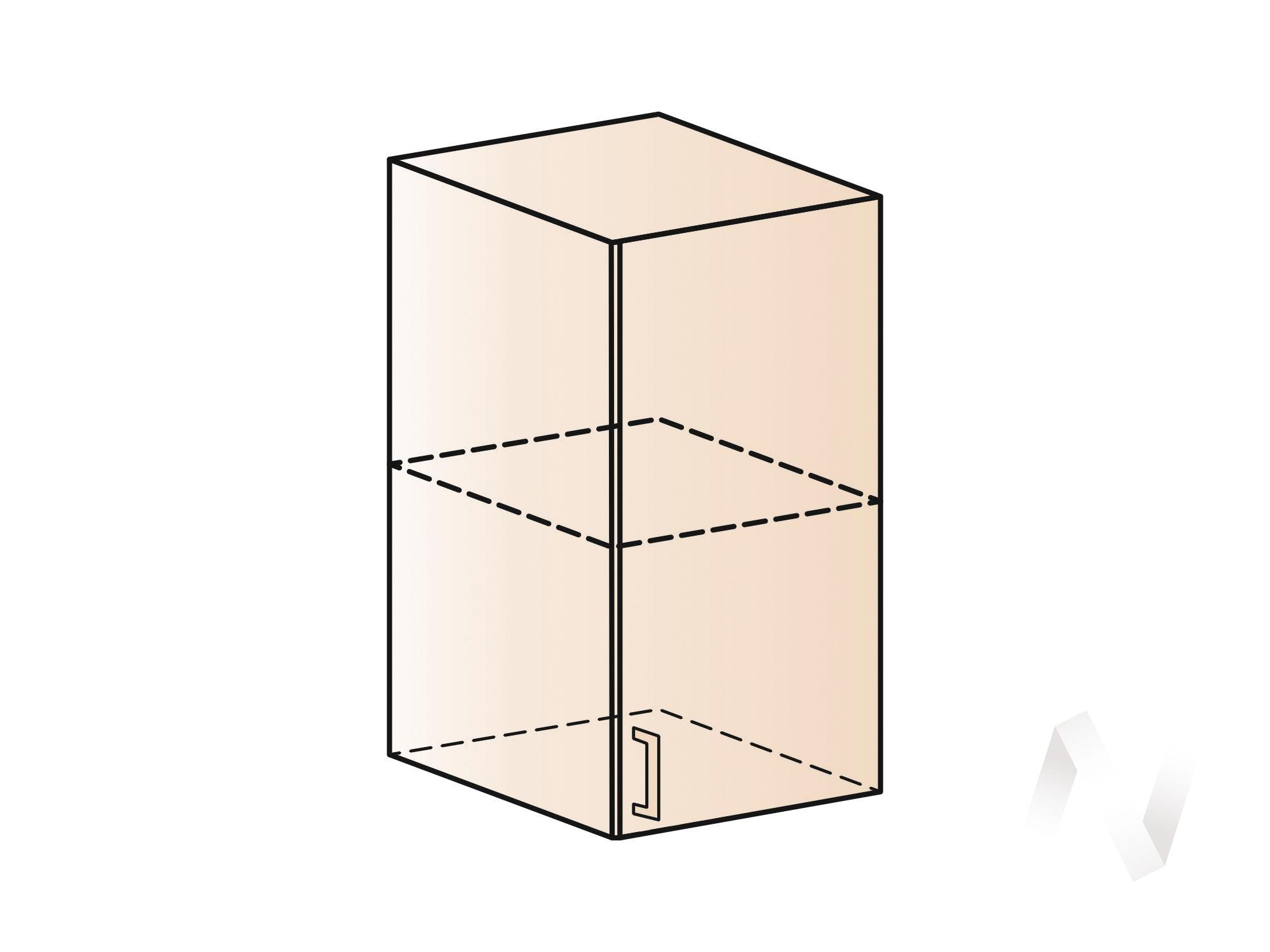 """Кухня """"Терра"""": Шкаф верхний левый 400, ШВ 400 (ваниль софт/ель карпатская/корпус титан)"""