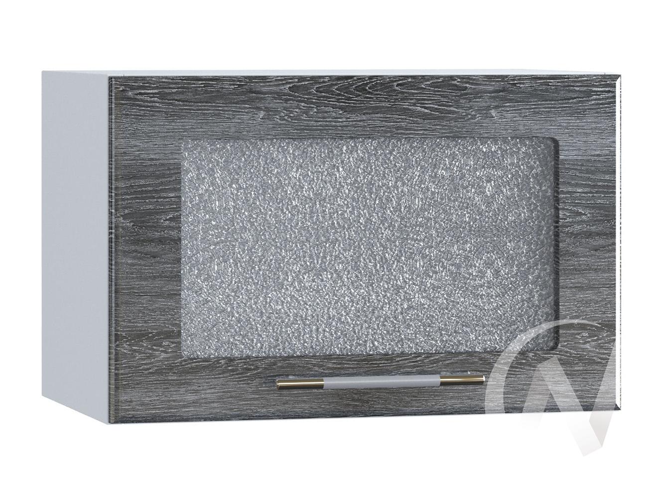 """Кухня """"Танго"""": Шкаф верхний горизонтальный со стеклом 500, ШВГС 500 (Дуб шале серебро/корпус белый)"""