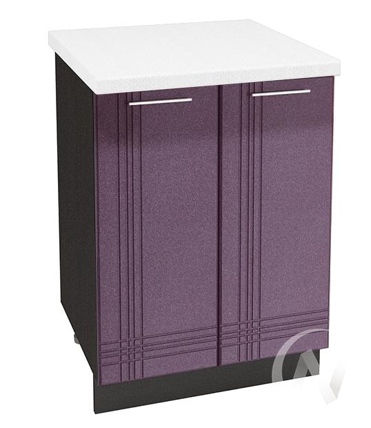 """Кухня """"Струна"""": Шкаф нижний 600, ШН 600 новый (фиолетовый металлик/корпус венге)"""