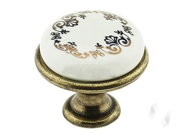 Ручка-кнопка М0055 (Шарлиз/Неаполь) (орнамент золотой)