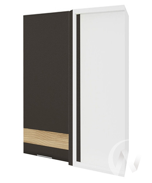 """Кухня """"Терра"""": Шкаф верхний угловой левый 699, ШВУ 699 (смоки софт/ель карпатская/корпус белый)"""