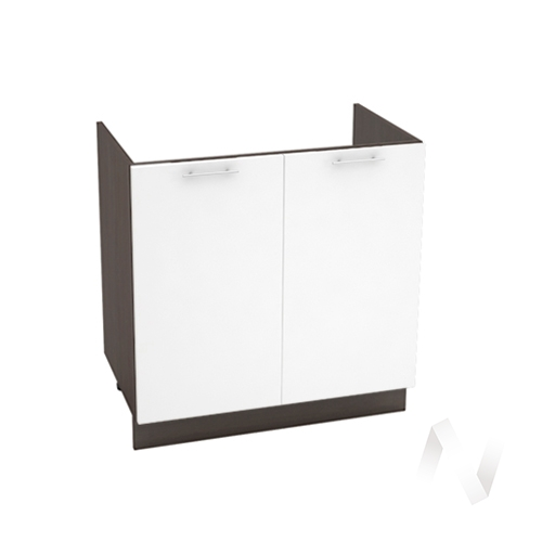 """Кухня """"Валерия-М"""": Шкаф нижний под мойку 800, ШНМ 800 новый (белый глянец/корпус венге)"""