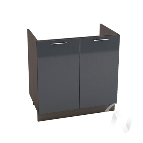 """Кухня """"Валерия-М"""": Шкаф нижний под мойку 800, ШНМ 800 новый (Антрацит глянец/корпус венге)"""