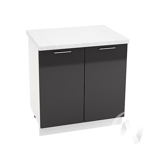 """Кухня """"Валерия-М"""": Шкаф нижний 800, ШН 800 новый (черный металлик/корпус белый)"""