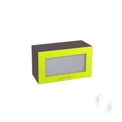 """Кухня """"Валерия-М"""": Шкаф верхний горизонтальный со стеклом 600, ШВГС 600 (лайм глянец/корпус венге)"""