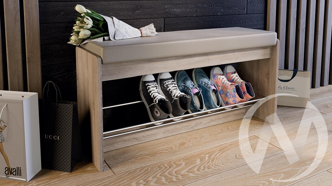 """Тумба для обуви """"Тайм"""" (Тип 2), (Дуб Сонома трюфель/Кожзам бежевый)"""